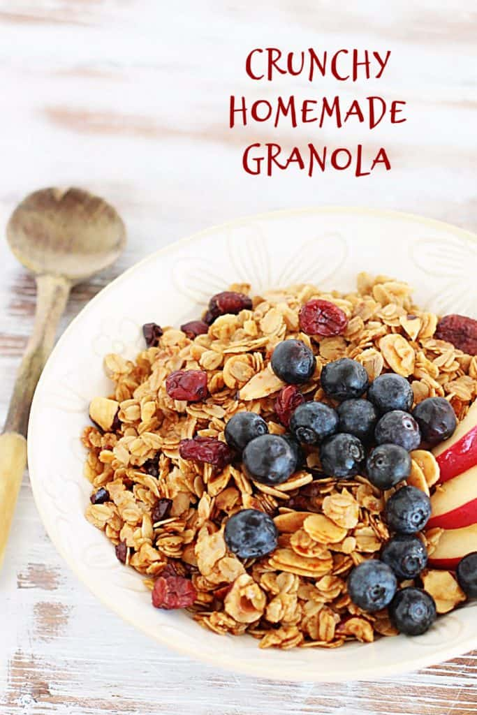White bowl with granola and blueberries, whitish table and red text overlay