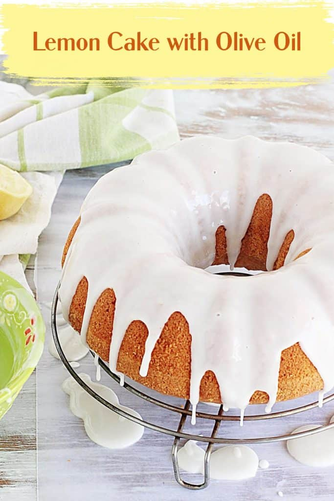 Glazed bundt cake on white surface, green white kitchen towel and yellow text overlay