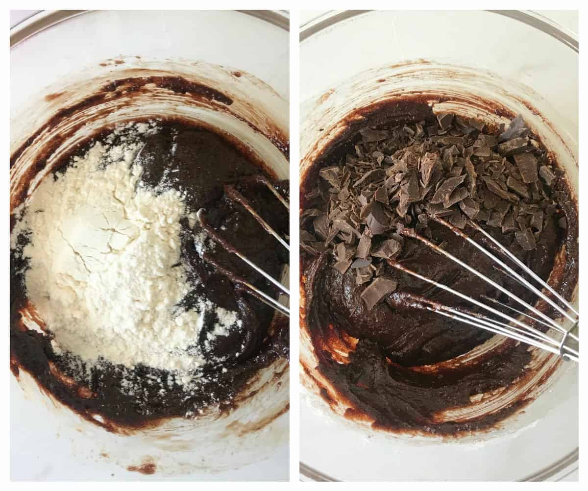 Collage showing flour and chocolate chunks added to chocolate mixture in glass bowl