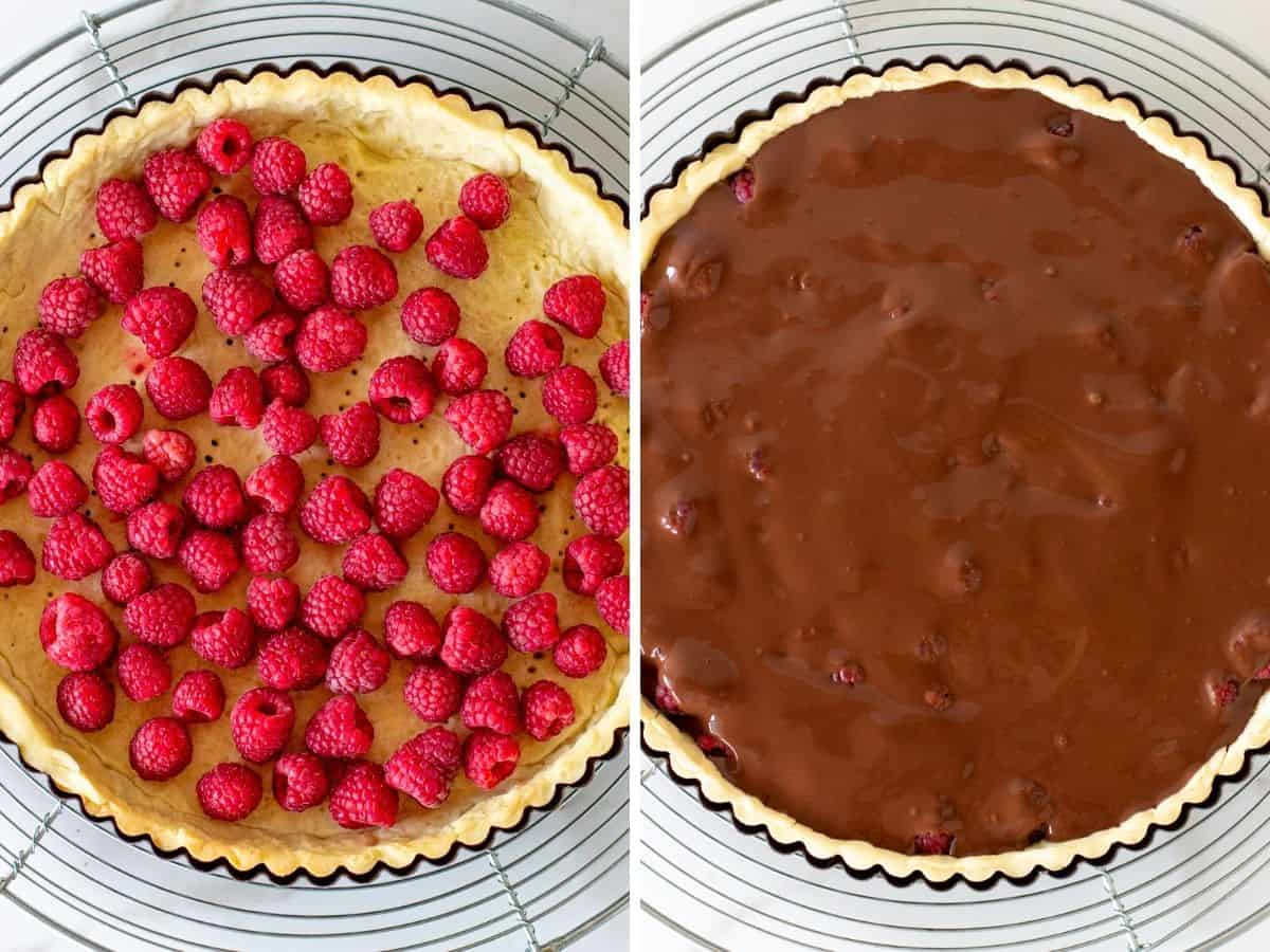 Top view collage of fresh raspberries in round tart crust, and topped with chocolate filling