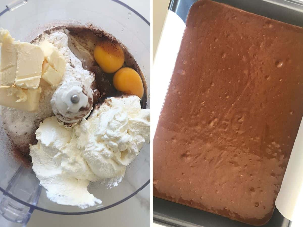 Collage showing ingredients fro chocolate cake in food processor and final batter in metal pan