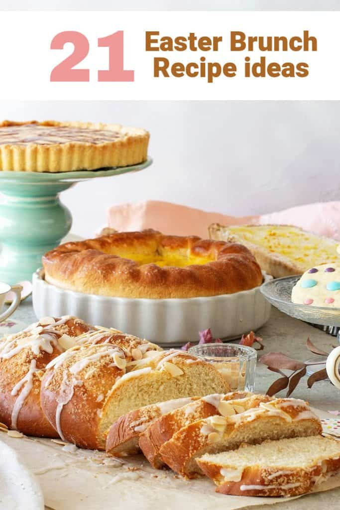 Easter table with sweet breads, tart on green cake stand, cookies and more; pink brown text overlay