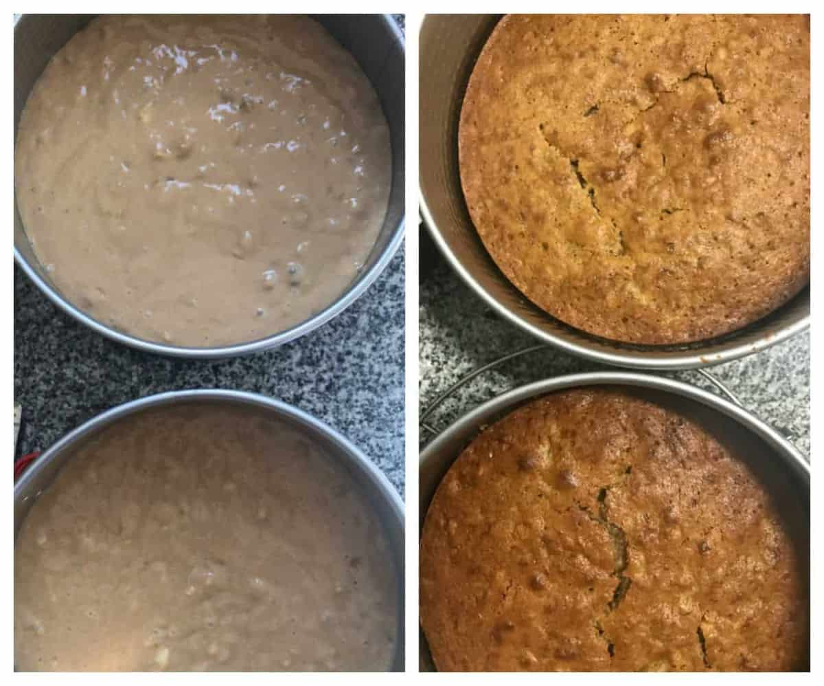 Cake pans with raw and baked batter, two image collage