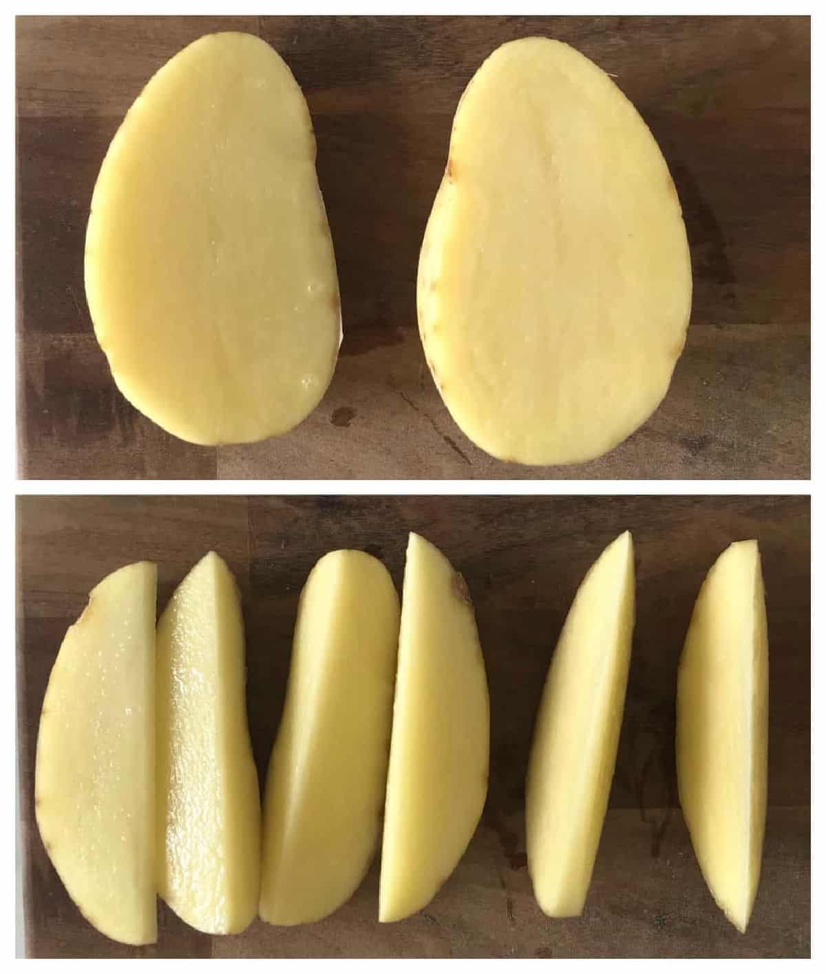 Two images showing raw potatoes on wooden boards cut in half and six wedges