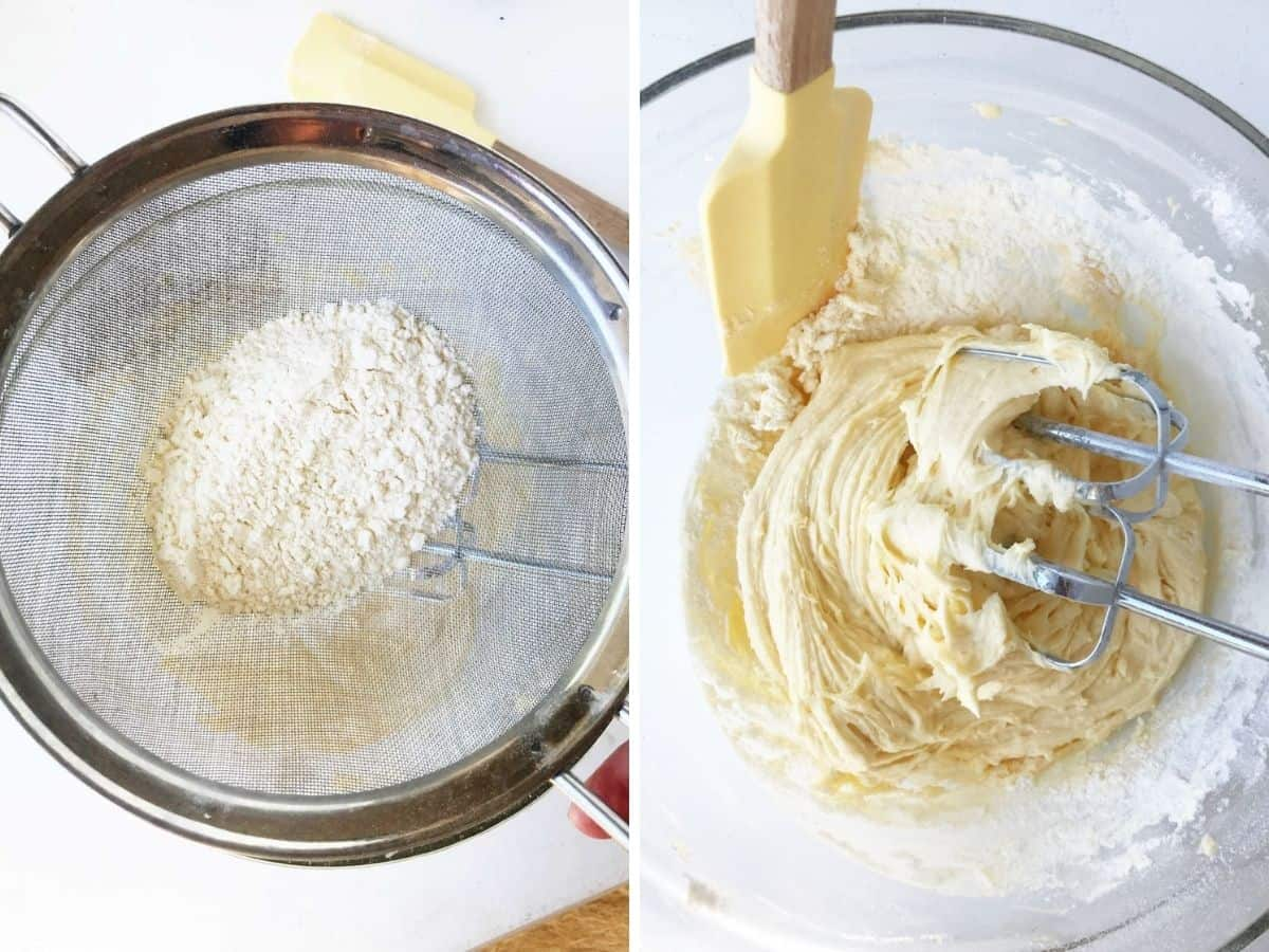 Making lemon cake collage: sifting flour and scraping side of bowl with batter