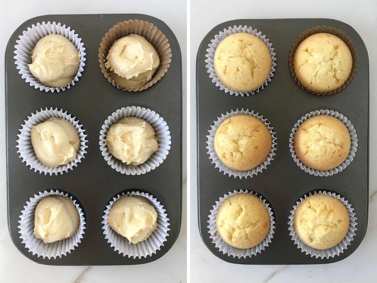 Two image collage of unbaked and baked vanilla cupcakes in metal pan