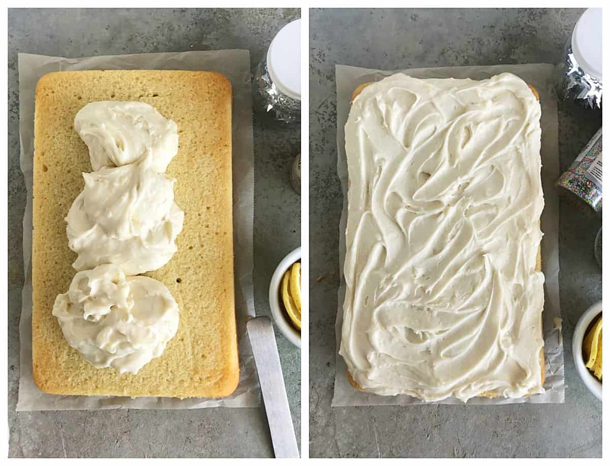 Overview of grey surface with lemon sheet cake with frosting, two image collage