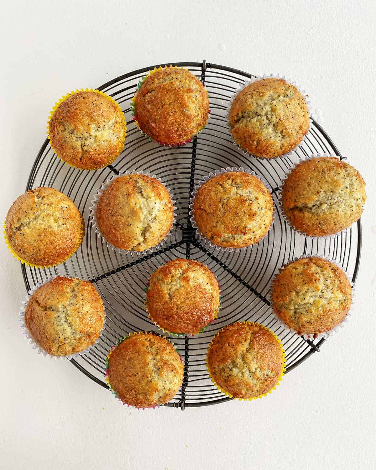 Top view of round wire rack with lemon muffins on white surface
