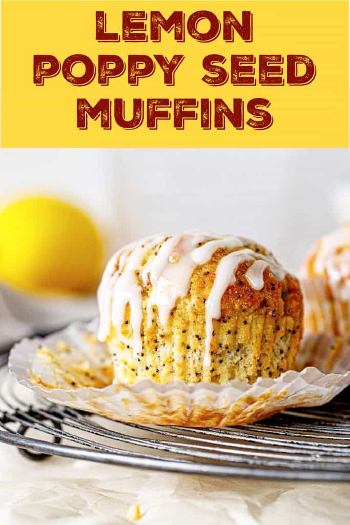 Wire rack with single glazed lemon muffin, open paper liner, brown yellow text overlay
