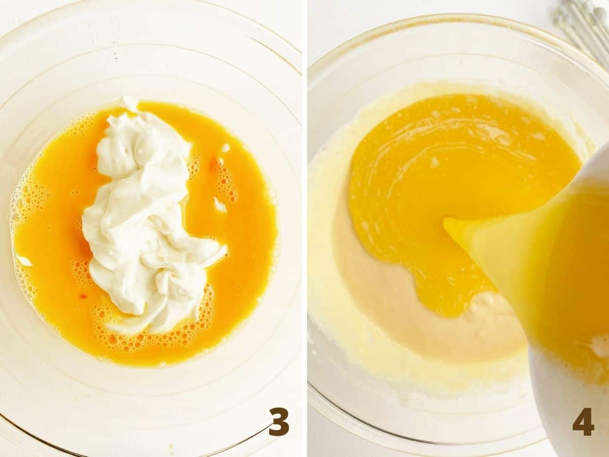 Mixing eggs with yogurt in glass bowl and adding melted butter; a collage