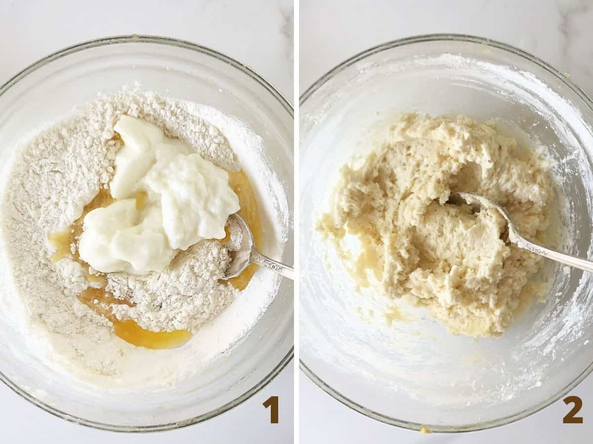 Two image collage; glass bowls with flour and yogurt mixture: ingredients and already mixed