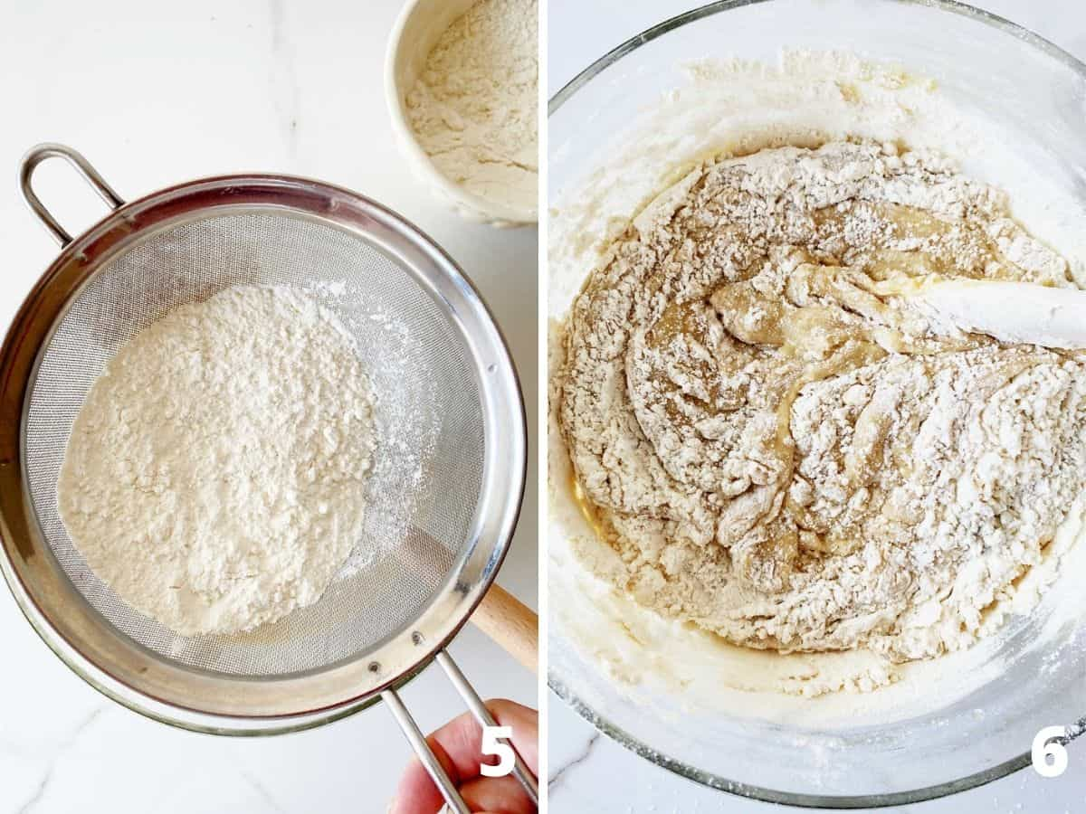 Collage sifting flour and mixing batter in glass bowl