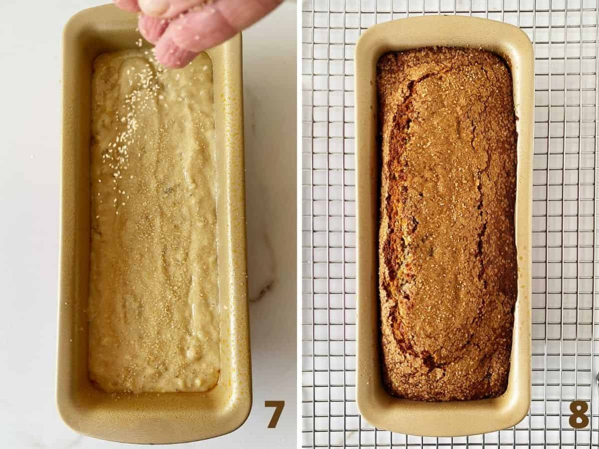 Banana bread batter in metal pan sprinkled with sugar, baked bread on wire rack