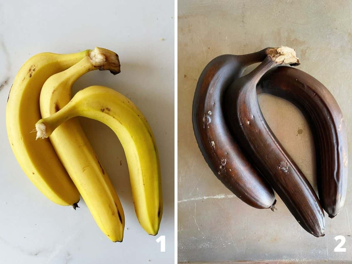Two images showing whole yellow bananas and black skinned roasted bananas