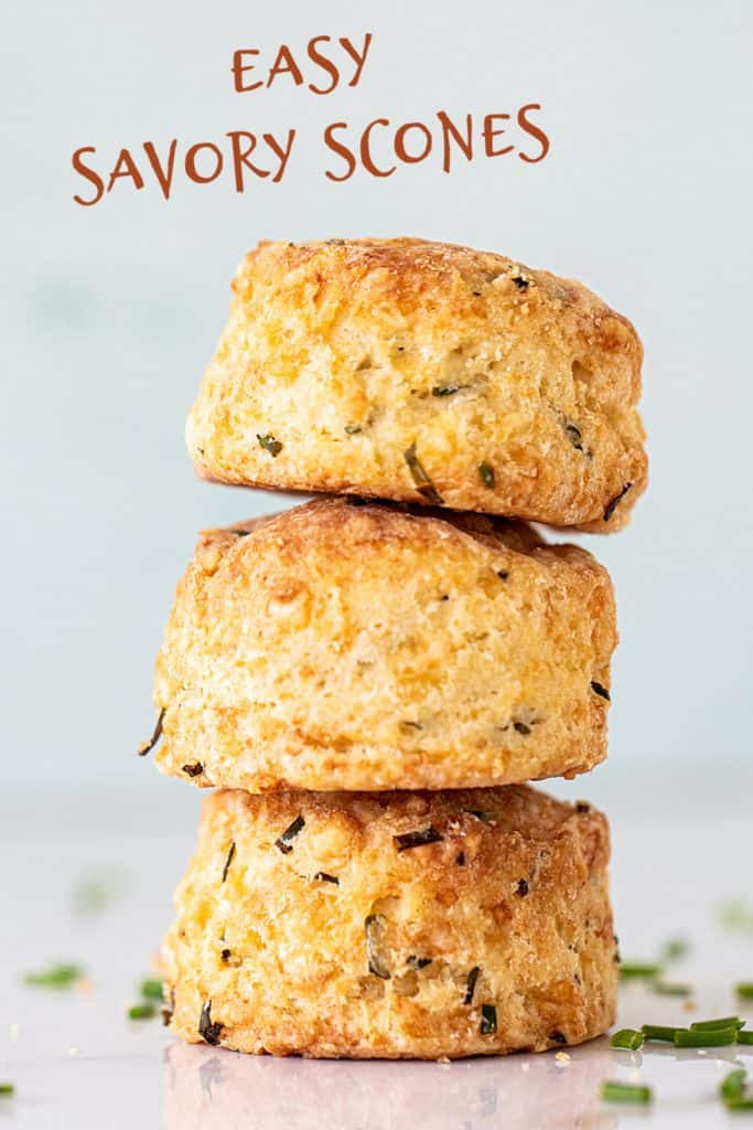 Stack of three golden scones with light green background, brown text overlay