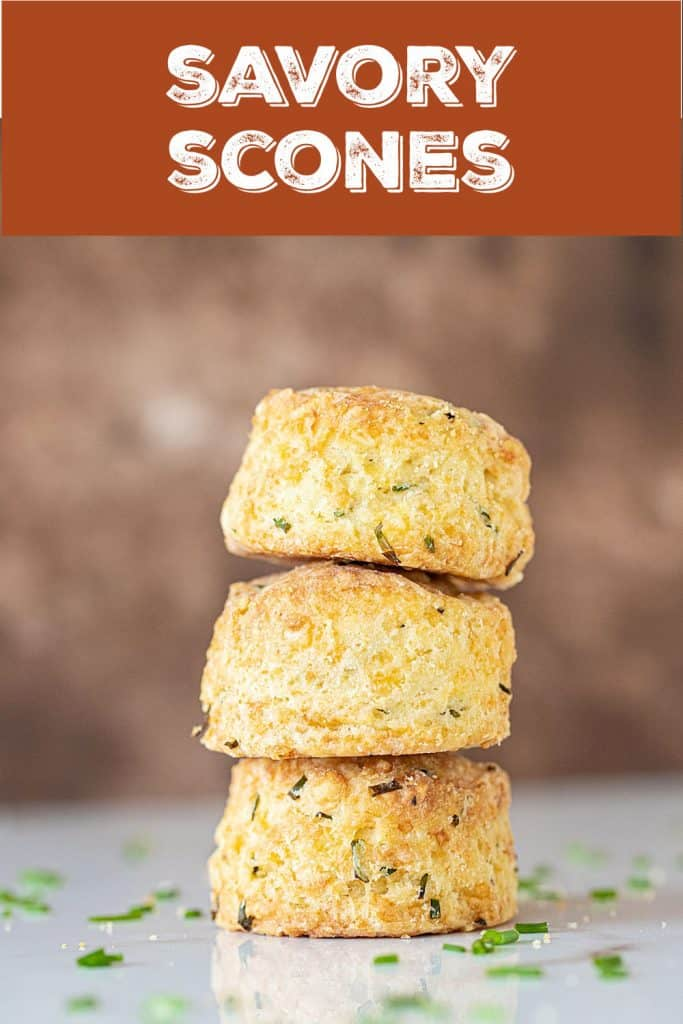 Brown background and text overlay with stack of three cheese scones