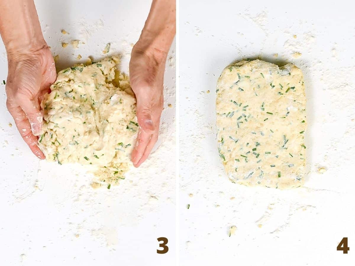 Collage showing hands on white surface forming scone dough into a rectangle