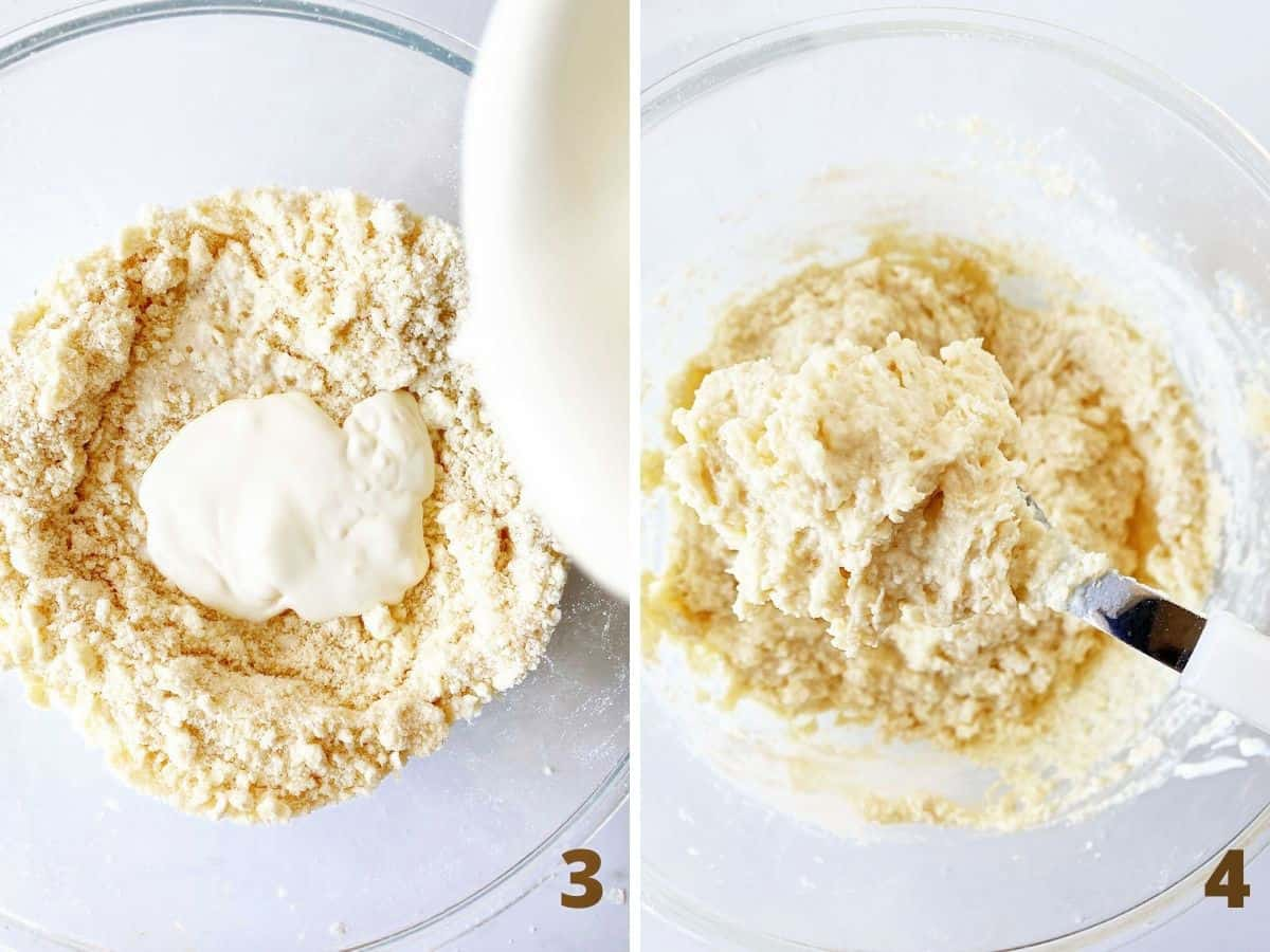 Top view of glass bowls with biscuit topping mixture, before and after adding yogurt