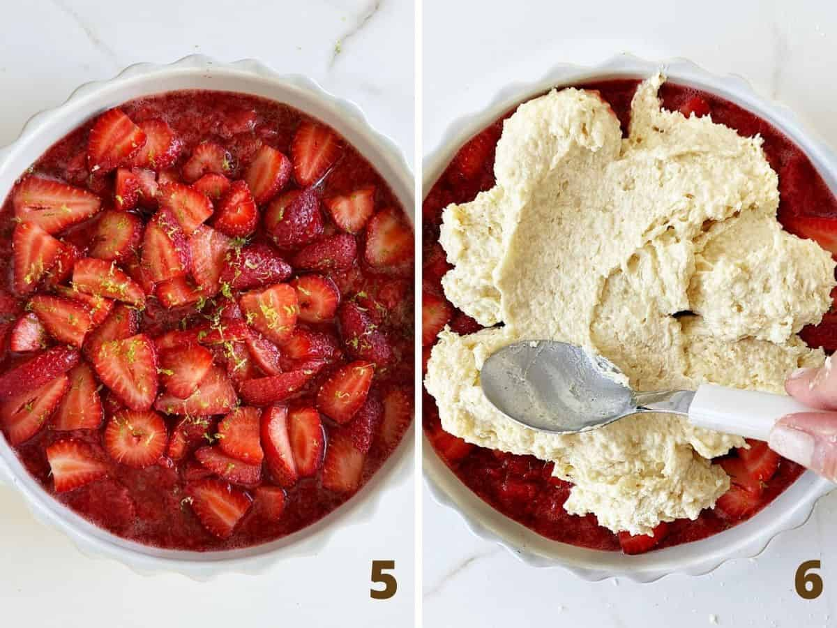 Collage with top view of strawberries in round dish, and spreading biscuit topping with spoon