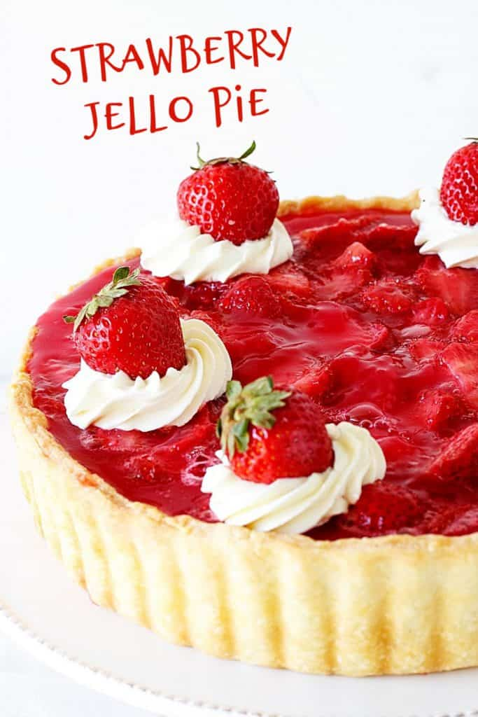 Partial view of strawberry pie with red text overlay