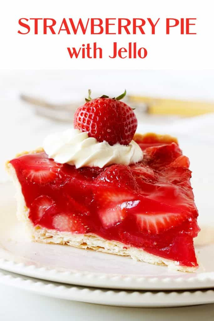 Two white plates with a slice of strawberry pie, white backgound, red text overlay