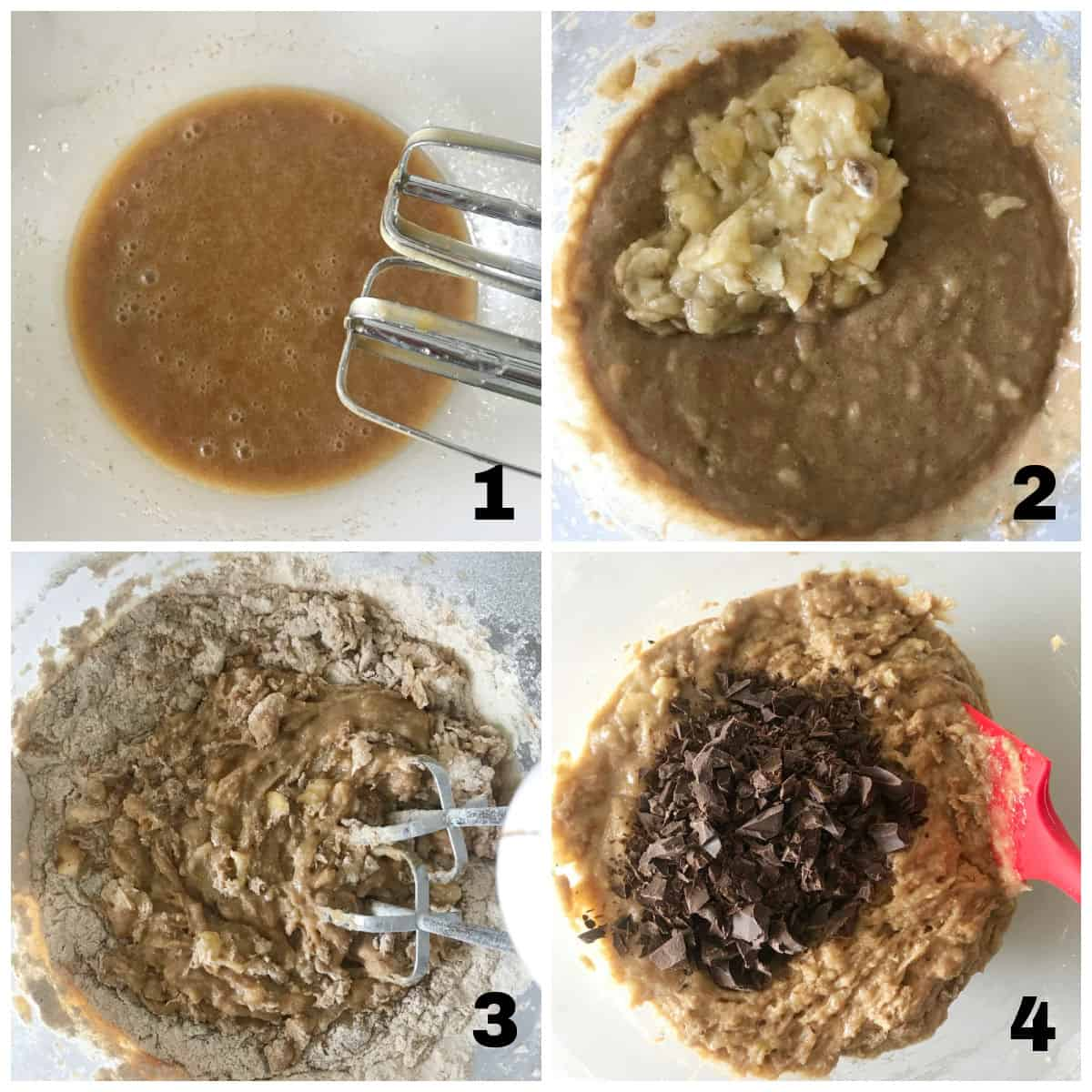 Four image collage showing banana chocolate chip bread process, bowl with batter at different stages