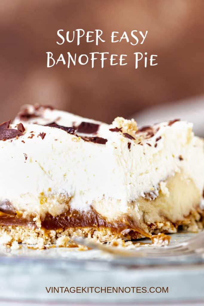 Close up of eaten slice of banoffee pie on blue and brown background, white text overlay