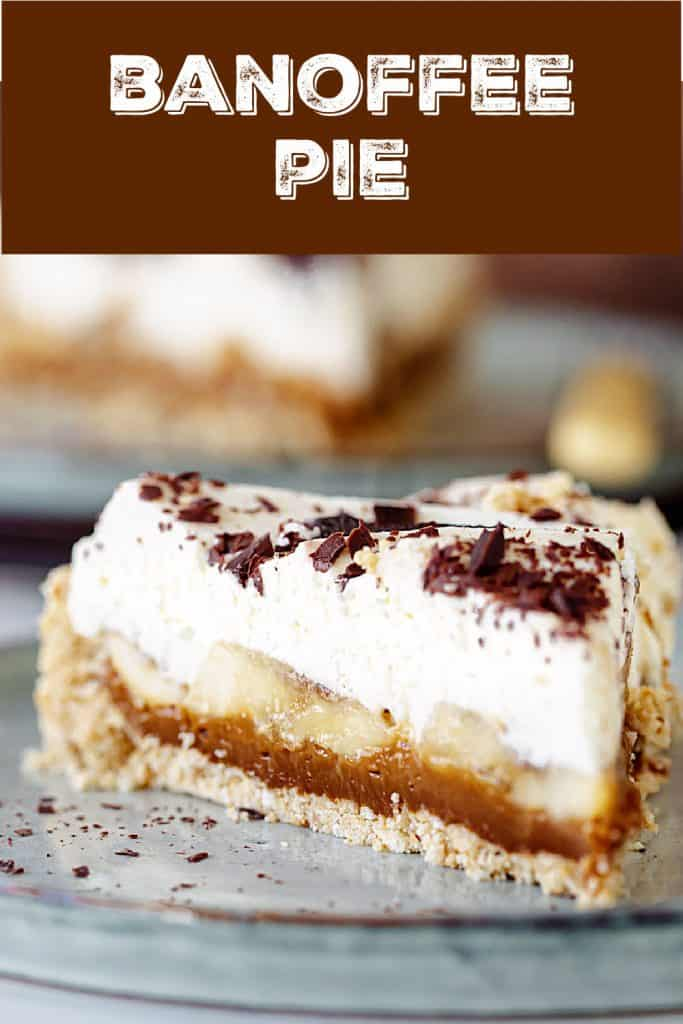 Blue surface with plate and slice of banoffee pie, brown white text overlay
