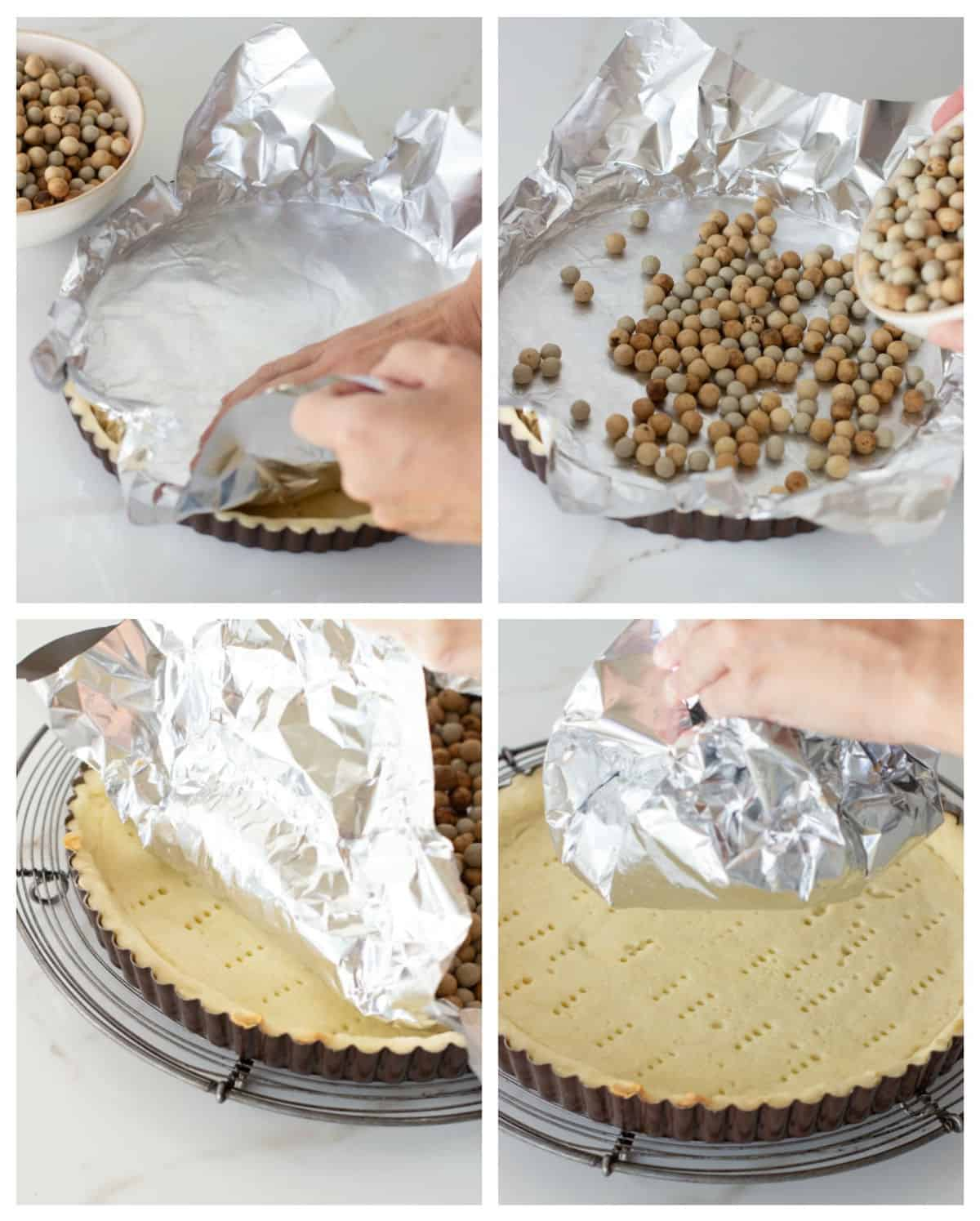 Collage showing steps for blind baking pie crust, aluminum foil with weights and pie pan on wire rack