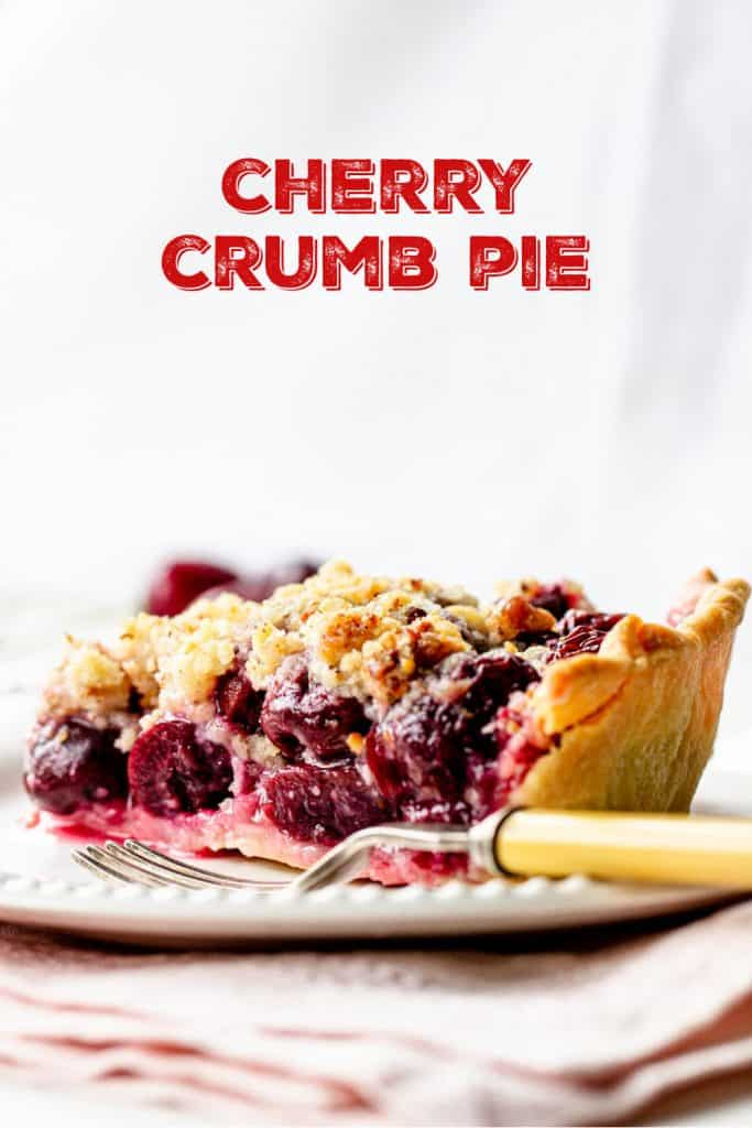 One cherry crumb pie slice on white plate, yellow fork, white background with red text overlay