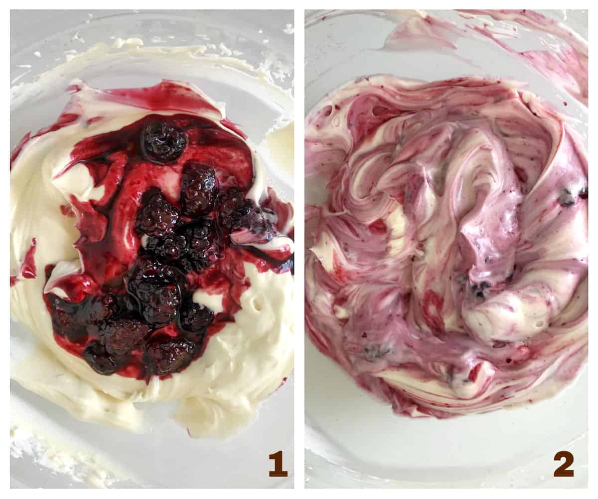 Making cheesecake with berries, process collage; mixing cheese and berry compote