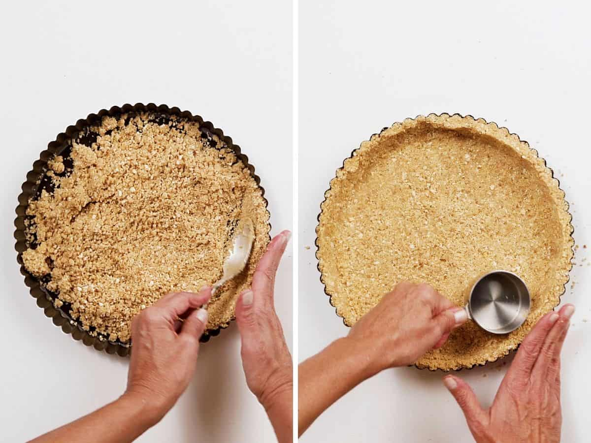 Forming cookie crumb crust with spoon and cup, top view on white surface