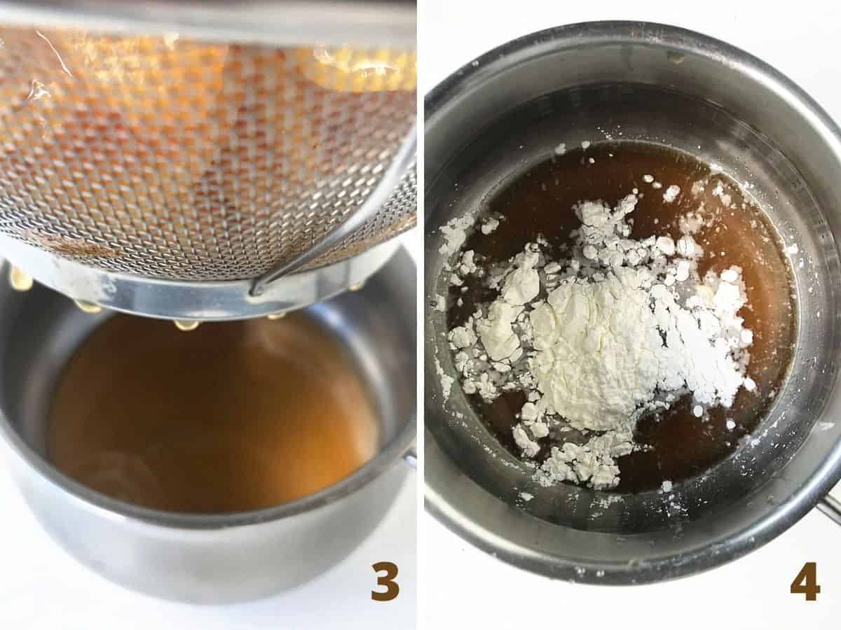 Colander over metal saucepan with juice, adding cornstarch to pan; a collage