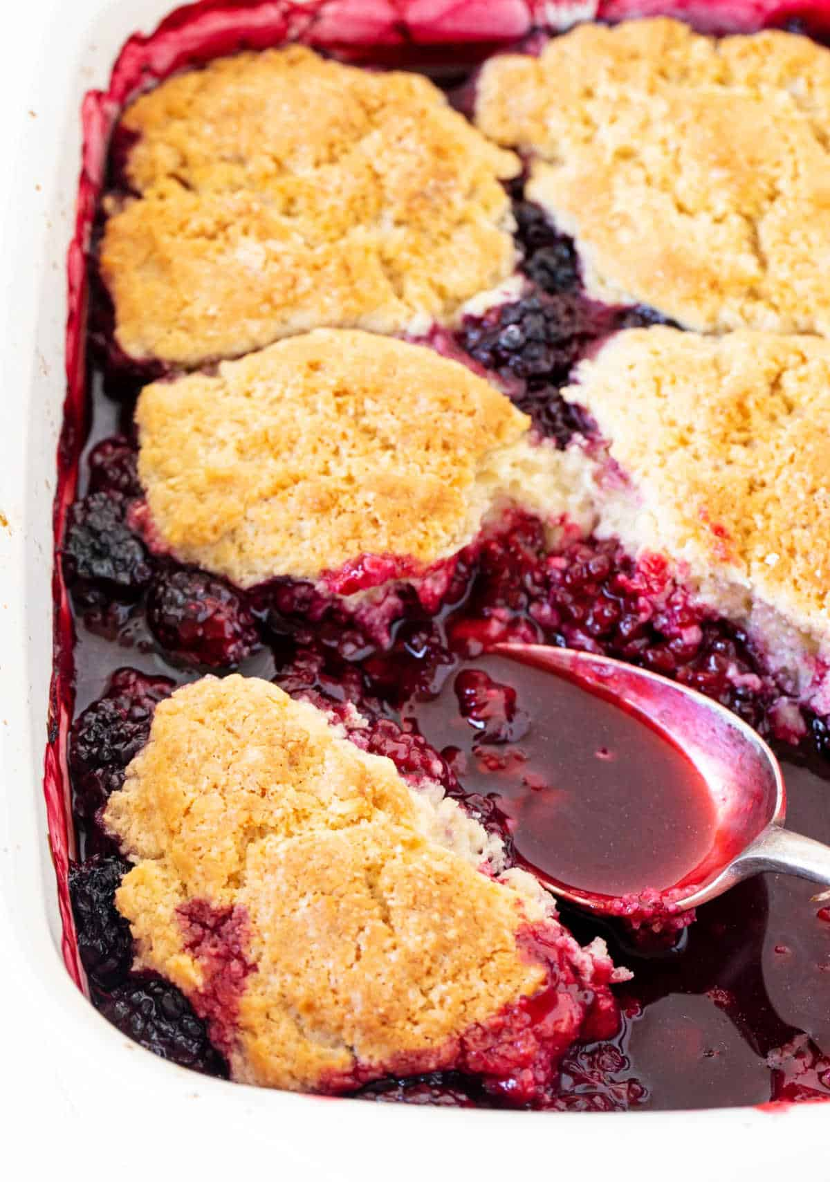 Baked blackberry cobbler with silver spoon inside
