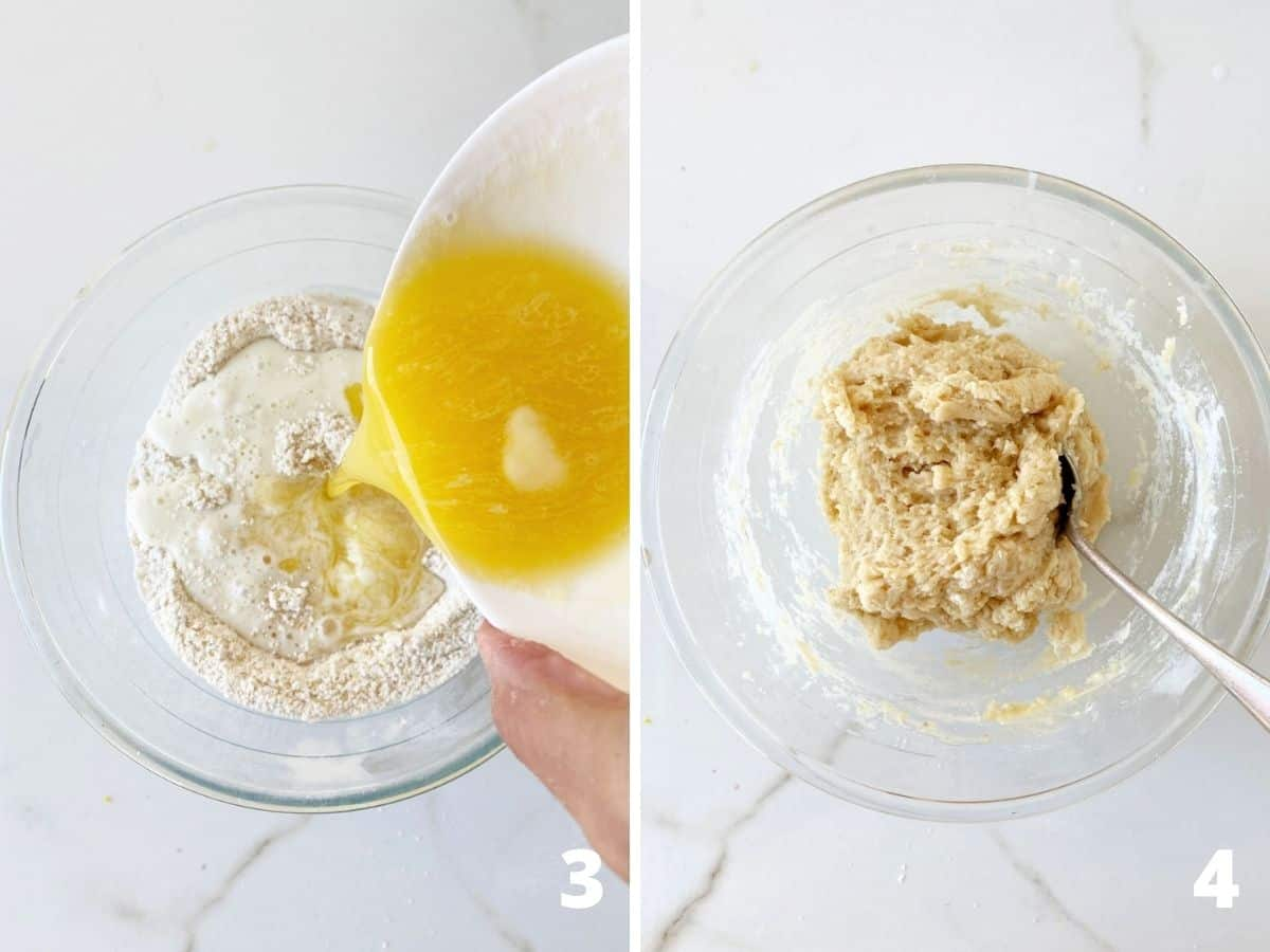 Two images of transparent bowl adding melted butter to flour, and final batter; white surface
