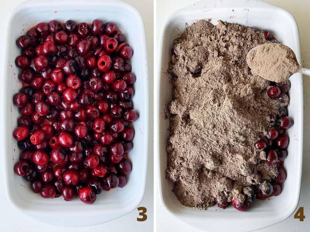 Rectangular ceramic dish with cherries, and adding chocolate cake mix