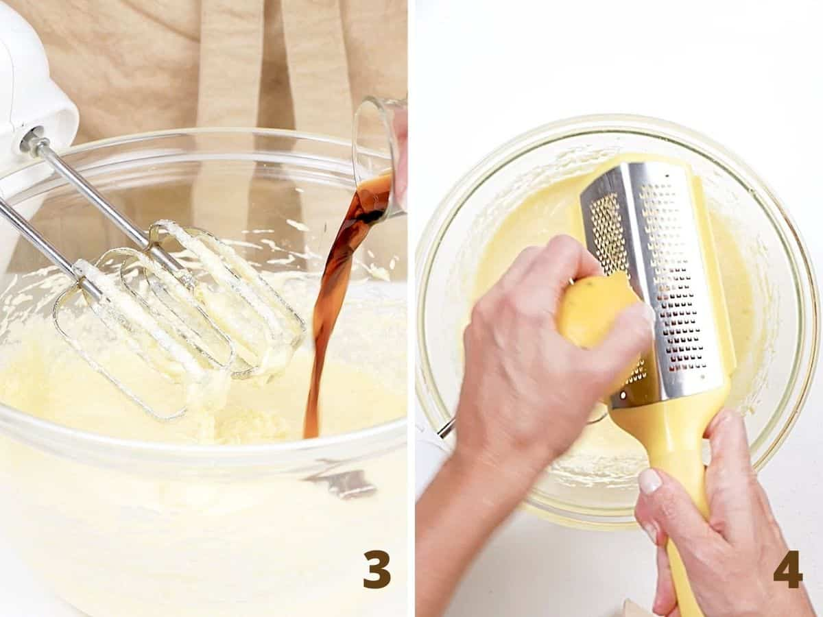 Vanilla being added to cake batter in glass bowl, also grating lemon zest over it