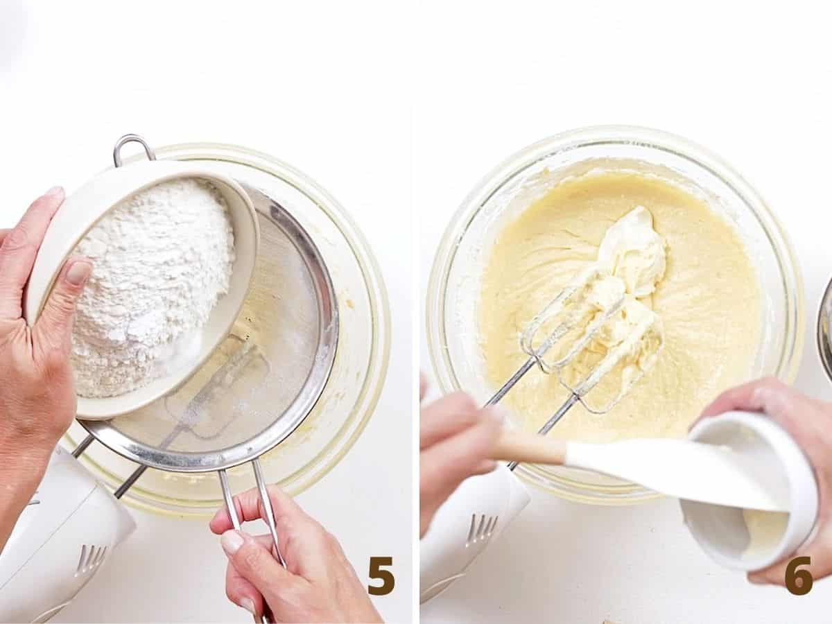 Two image collage sifting flour over cake batter and adding sour cream, white surface
