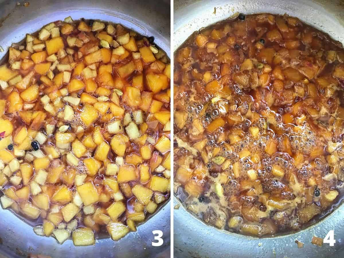 Two images showing barely simmering and cooked peach chutney in metal saucepan