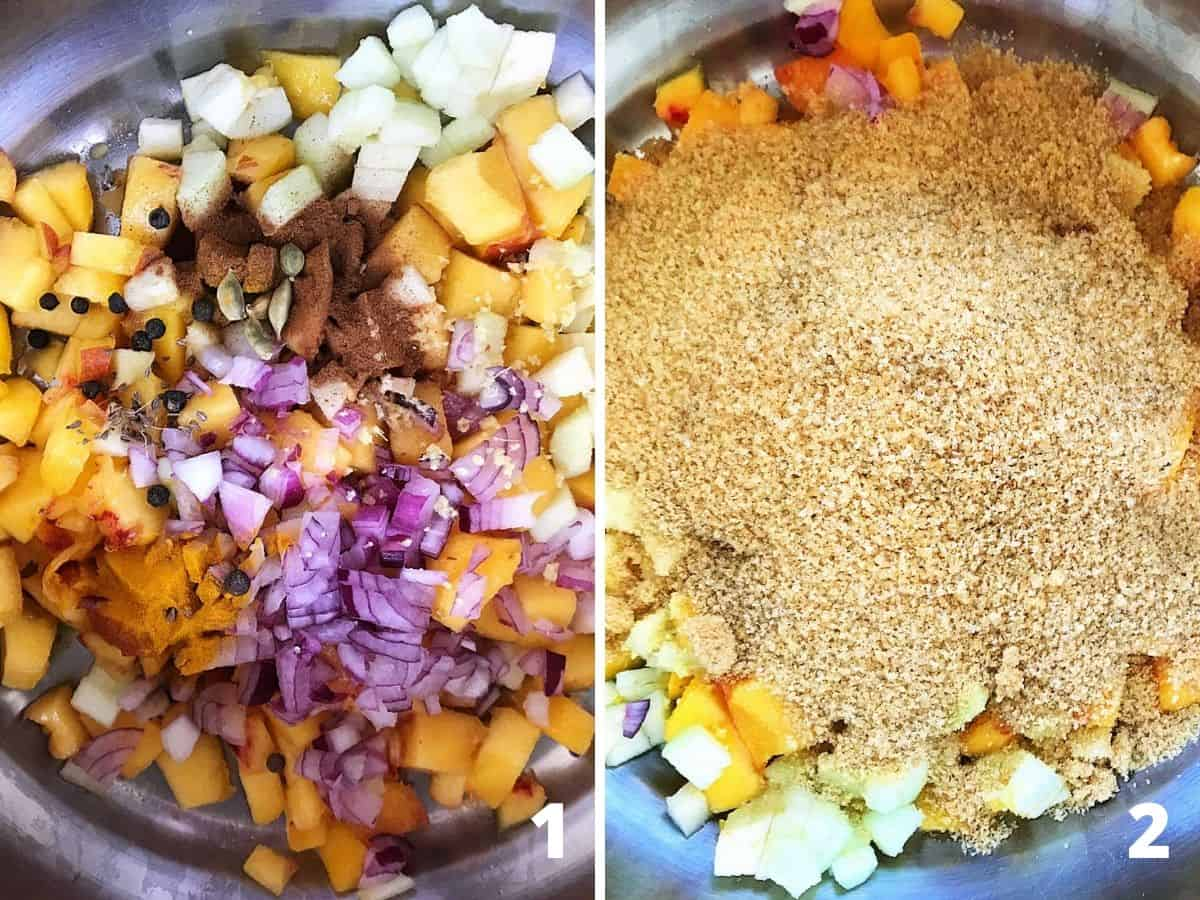 A collage showing diced peaches, onion and spices in saucepan, and brown sugar added to it