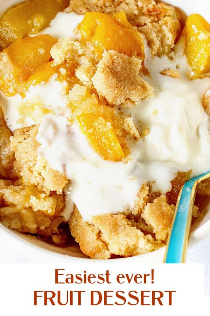 White brown text overlay over close up of peach dump cake with green spoon and ice cream