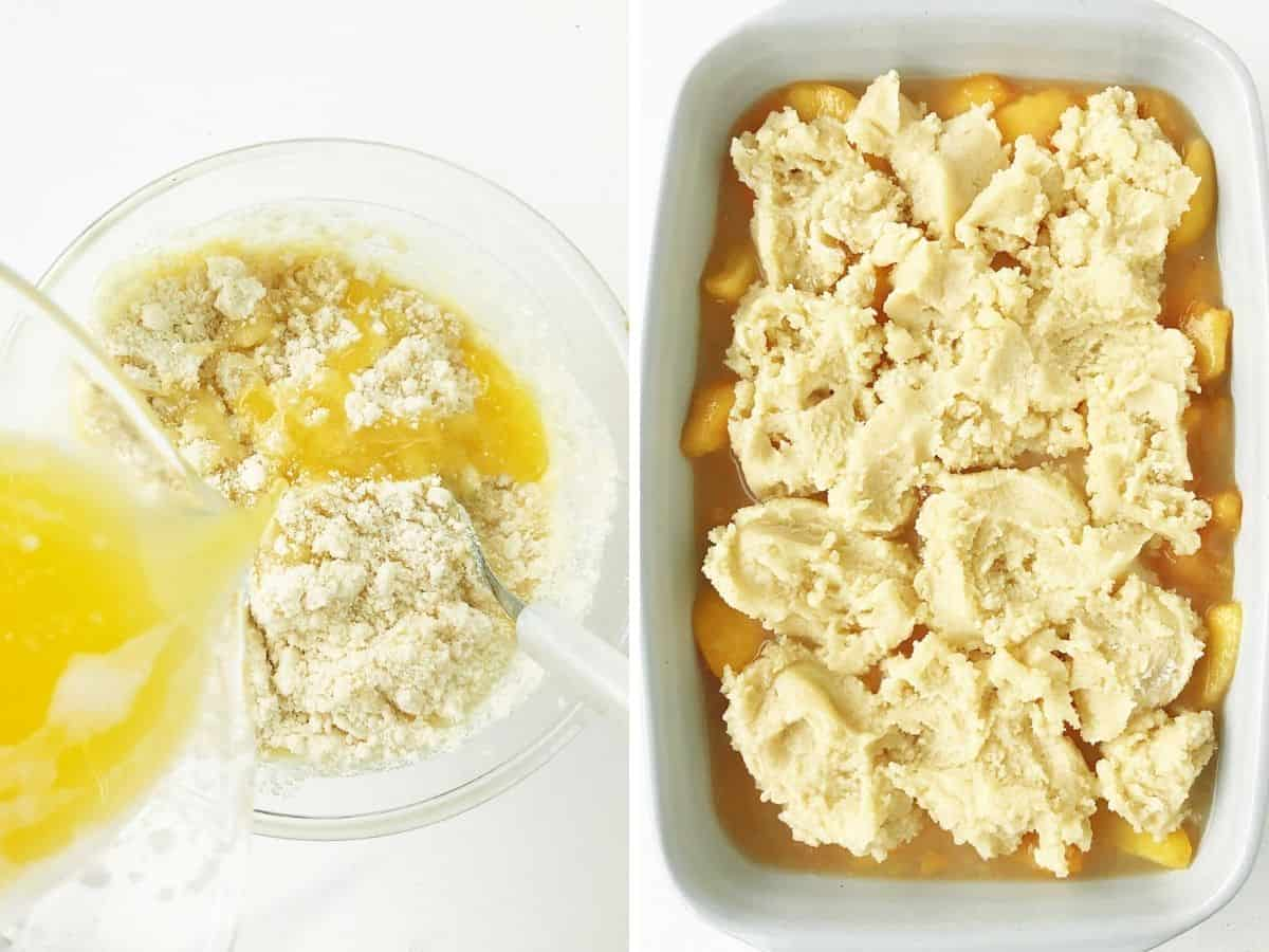 Collage showing melted butter added to cake mix and unbaked peach dump cake in rectangular pan
