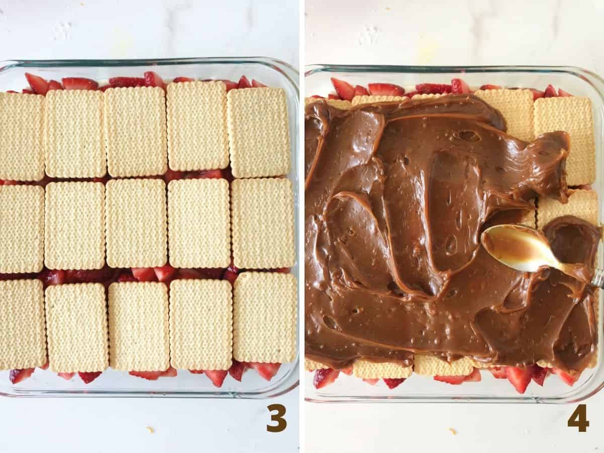 Collage showing layer of cookies, and spreading dulce de leche over them with spoon