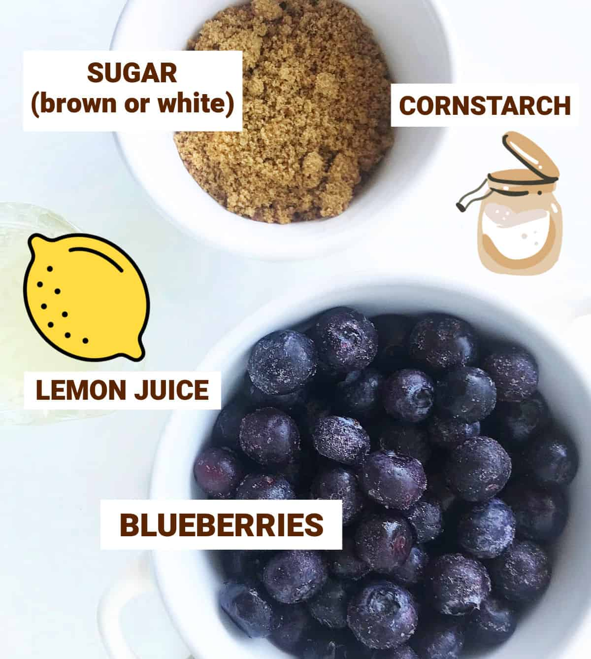 White bowls and graphics with sugar and blueberries, jar with juice, image with text