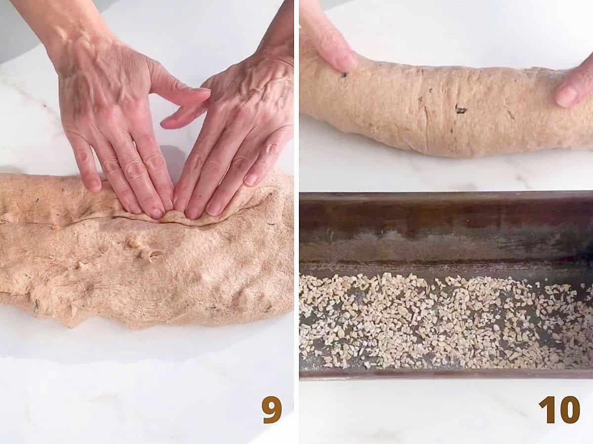 Image collage showing hands forming loaf of bread on white surface and transferring to metal pan