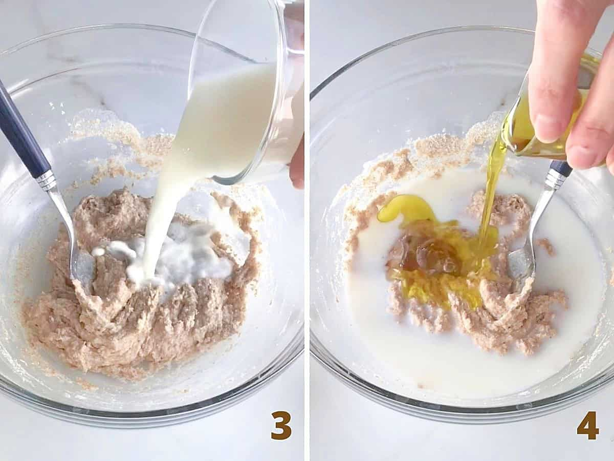 Adding milk and oil to glass bowl with yeast sponge mixture on white surface; a collage