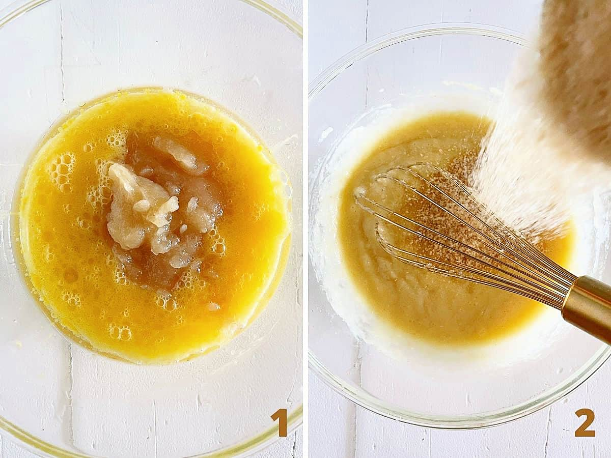 White surface with glass bowl showing applesauce added to muffin batter, and adding brown sugar