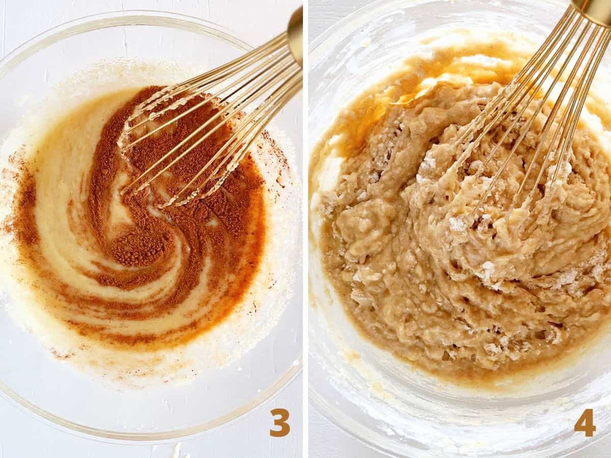 Collage mixing spices with muffin batter and then flour in glass bowl with gold whisk
