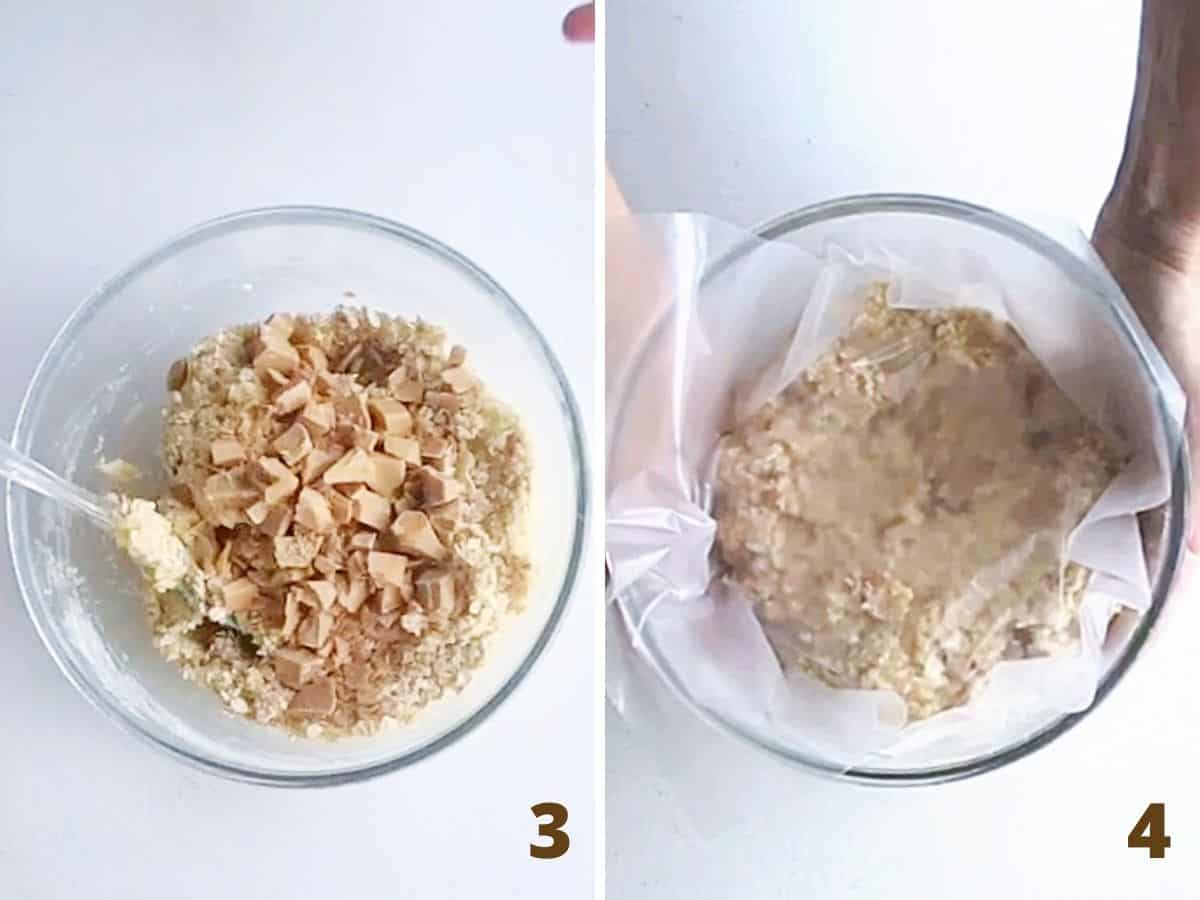 Collage with glass bowl containing cookie dough and butterscotch chunks; covered in plastic