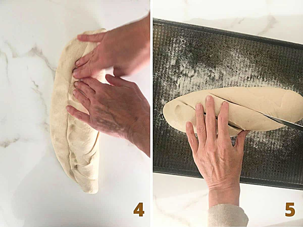 A collage with hands forming french baguette, and scoring bread on a metal pan